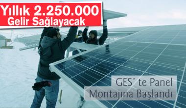 Bayburt Belediyesi Enerji için Yapılan güneş panellerinin montajına başlandı